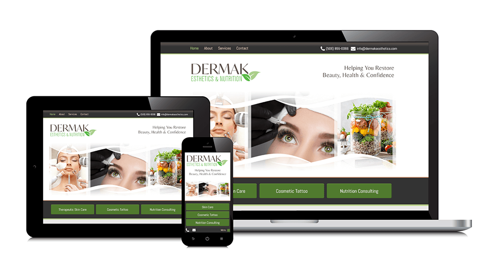 Dermak Esthetics & Nutrition responsive website shown on three devices: laptop, tablet, and smartphone.