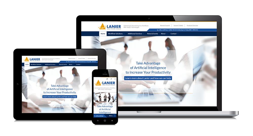 Lanier Healthcare Canada's responsive website shown on three devices: laptop, tablet, and smartphone.