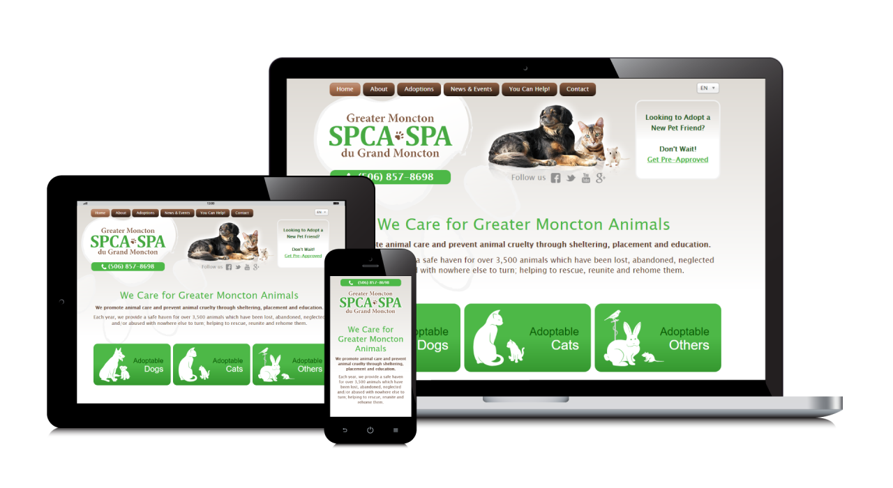 Greater Moncton SPCA's New Website Screenshot