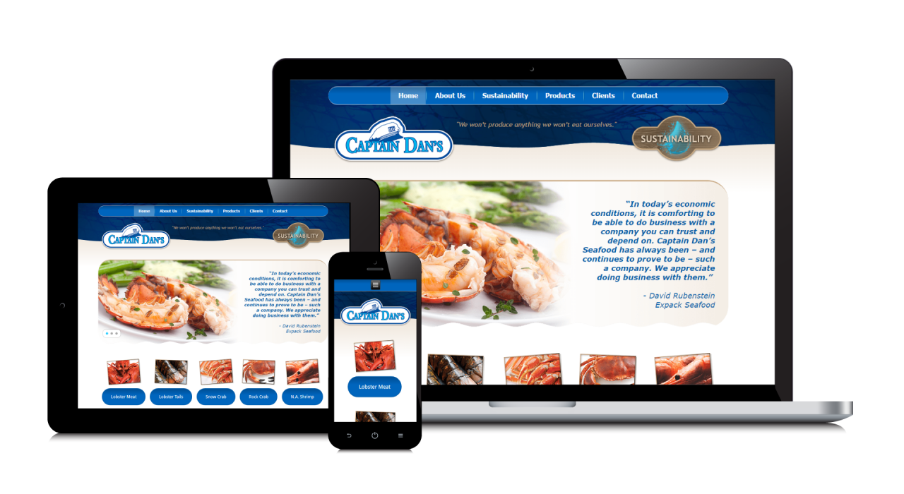 Captain Dan's Seafood's New Website Screenshot