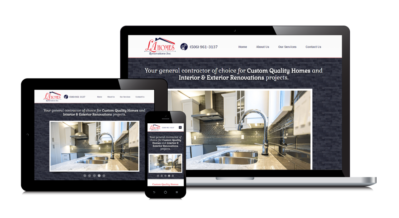 L A Homes & Renovations' New Website Screenshot