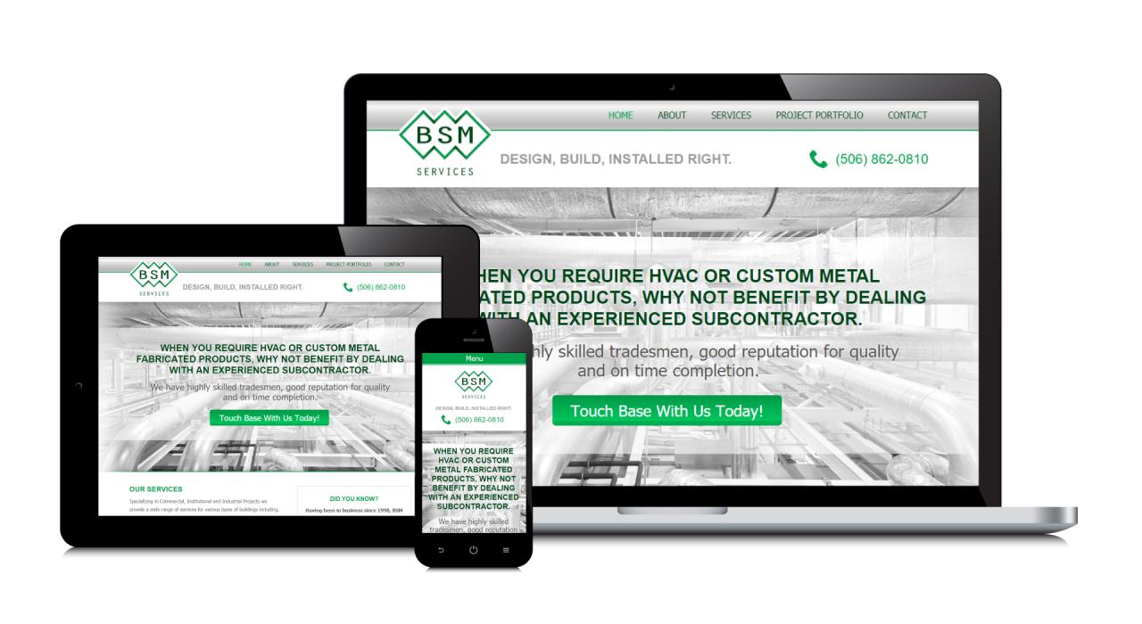 BSM Services' New Website Screenshot