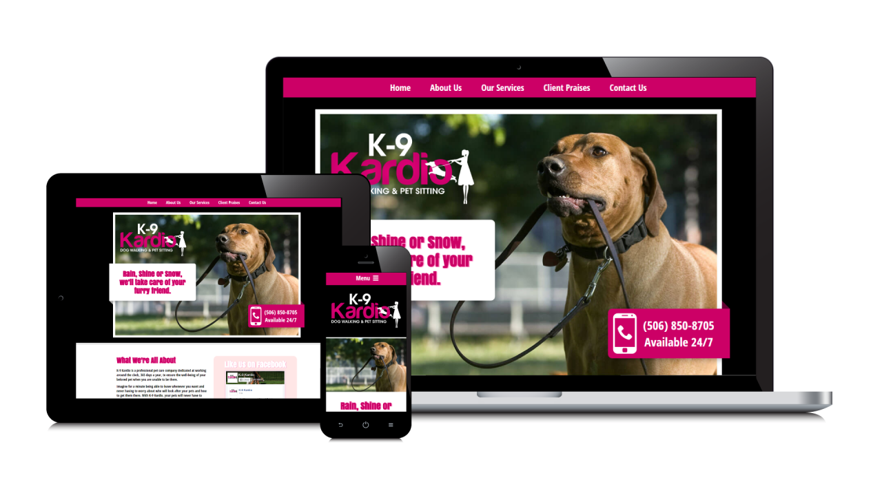 K-9 Kardio's New Website Screenshot