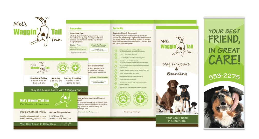 Mel's Waggin' Tail Inn Visual Brand Identity - Logo, Brochure, Business Card & Vertical Banner