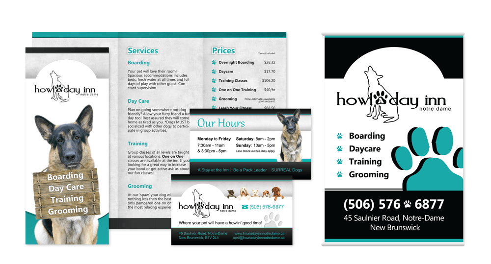 Howl A Day Inn Notre Dame Visual Brand Identity - Brochure, Business Card & Outdoor Vertical Sign