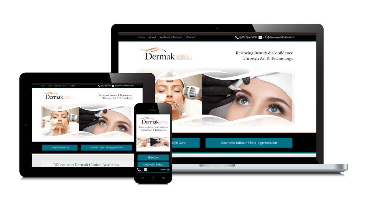 Dermark Clinical Aesthetics' New Website Screemshot