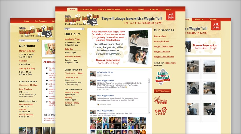 Mel's Waggin' Tail Inn New Website Screenshot