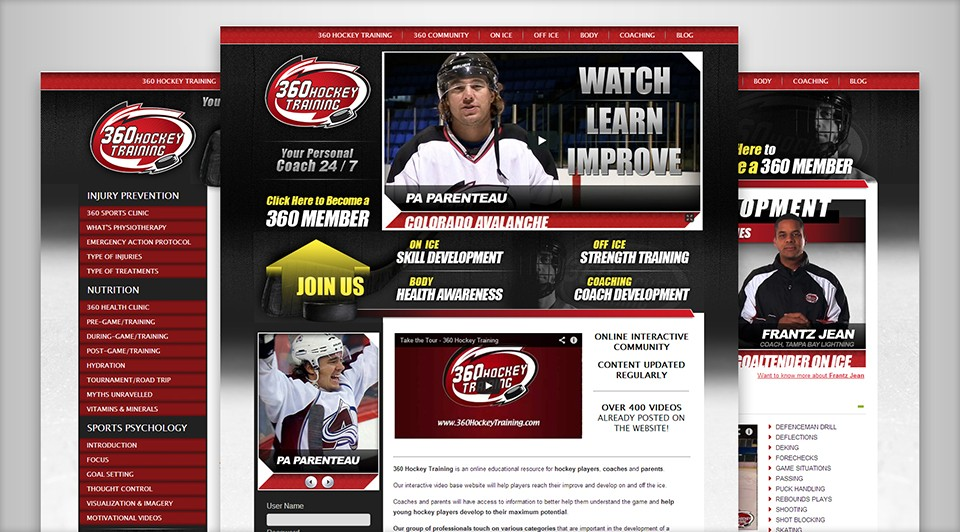 360 Hockey Training New Website Screenshot