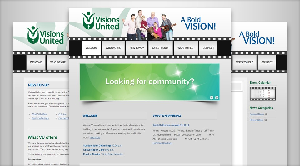 Visions United's New Website Screenshot
