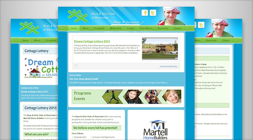 Boys & Girls Club of Riverview's New Website Screenshot