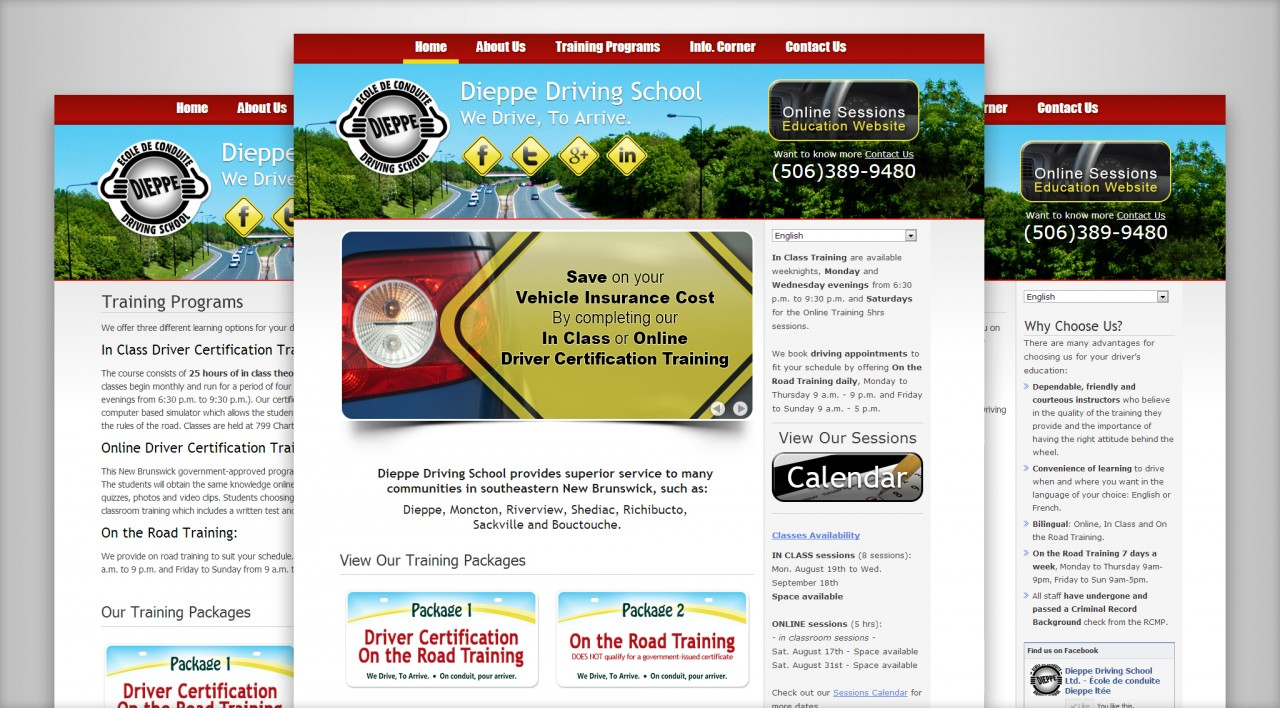 Dieppe Driving School's New Website Screenshot
